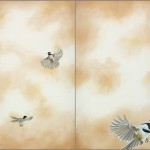 Camille Engel, Flying High (diptych), oil, 46 x 52.