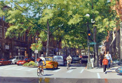 William E. Elston, On the Corner II, oil, 36 x 48.