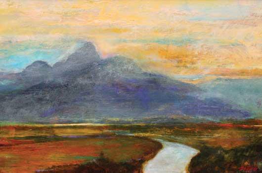 John Axton, Teton Skies, oil, 12 x 30