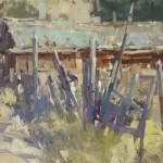 Jill Carver, Fenceline, oil, 16 x 20.