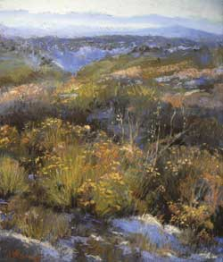 Margi  Lucena, Truchas Vista, November, pastel, 11 x 14.