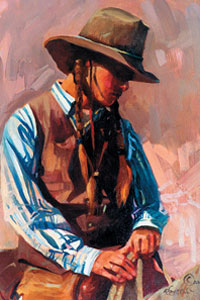 Saddle Weary, oil, 16 x 12.