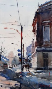 Eugeniu Chisnicean, Chisinau View I, watercolor, 21 x 13.