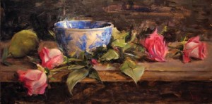 Derek Penix, Bowl and Roses, oil, 8 x 16.