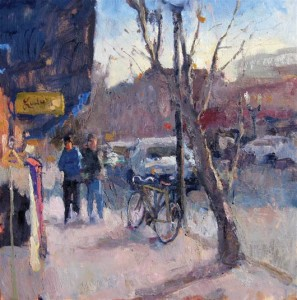 Nathaniel Praska, In Front of Lulu's Boutique, oil, 24 x 24.