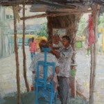 Shave and Haircut--10 Rupees, oil, 30 x 24.