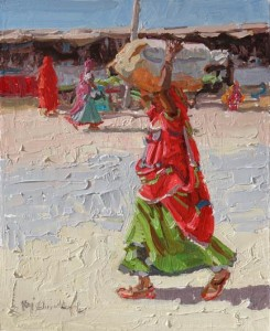 Rajasthani Women Working Series 1, oil, 10 x 8.