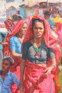 Pushkar Bazaar Red v2, Oil, 24x16.