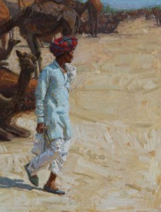 Camel Traders Series: Looking Around, oil, 24 x 18.