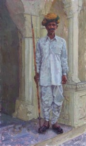 Rajput Guard, Oil, 30x18.
