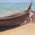 Kovalam Fisherman Docking Boat Study, oil, 12 x 9.