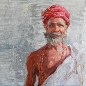 Sadhu in Red Turban, oil, 18 x 18.