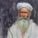 Sadhu In White Turban, Oil, 16x16.