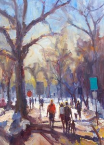 Washington Park Winter, oil, 40 x 30.