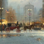 Snow Flurries on Michigan Avenue, oil, 30 x 50
