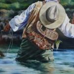 Small River, Big Fish, watercolor, 34 x 44.