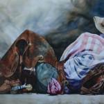 Texas Duststorm, watercolor, 42 x 84.