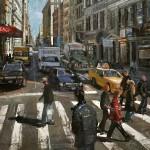 City Life, oil, 60 x 22.