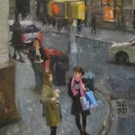 Shopper Girls, oil, 16 x 12.