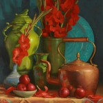 Still Life with Plums and Gladiola by Sarah Blumenschein