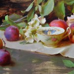 Peaches, Plums, and Hydrangeas, oil, 12 x 20.