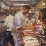 Quang Ho, Smokey Kitchen Arrangement, oil, 18 x 14.