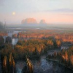 Moonset at Blackwater Refuge, oil, 36 x 60.