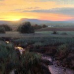 Sundown Looking West Shenandoah Valley, oil.