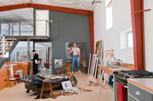 Inside his studio.