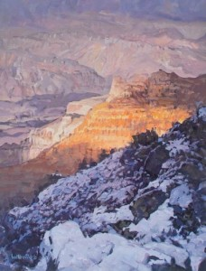 Little Snowstorm at Lipan Point, oil, 17 x 13.