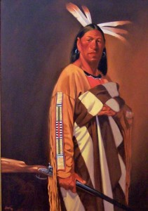 Chief&#039;s Blanket/Sioux, oil, 28 x 40.