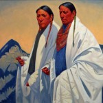 Taos Elders on Morning Stroll, oil, 40 x 40.