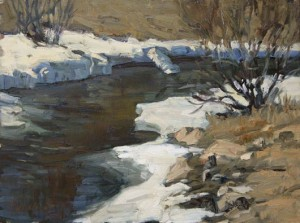 April on Bear Creek, oil, 9 x 12.