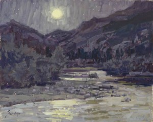 Cub Lake Trailhead Nocturne in Purple Greys, oil, 16 x 20.