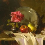 Rose and fruit, oil, 11 x 14.