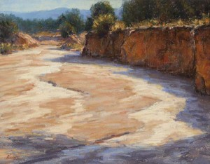 Arroyo Wall, pastel, 14 x 18.
