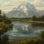 Mt. Moran from Oxbow, oil, 30 x 40.