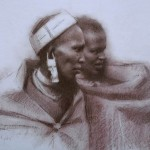 Massai Women, pastel and pencil, 14 x 18, by Susan Lyon