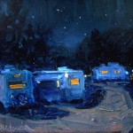 Night in the Campground, oil, 11 x 14, by Susiehyer