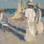 Three Girls and the Pond, Yacht, oil, 10 x 15, by C.W. Mundy