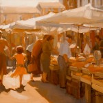 Market Day, oil, 18 x 24, by Sarah Kidner