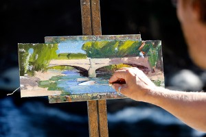 Joshua Been painting in Salida, CO
