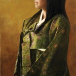 Cynthia Feustel, Green Hanbok, oil, 36 x 18. 