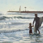 Micaiah Hardison, Surf Lesson, oil, 15 x 30.