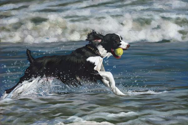 Patsy Lindamood, Seaside Romp, pastel, 24 x 36.