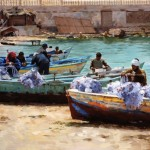 Pauline Roche, Checking the Nets (Alexandria, Egypt), oil, 30 x 40.
