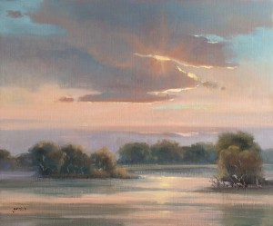 Mary Garrish, Pink Hues Marsh Sunset, oil, 20 x 24.
