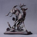 George Bumann, From the Brush Country, bronze, 8 x 6 x3.