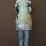 Kim Brown, Crossing a Line, terra cotta clay, 17 x 5 x 5.