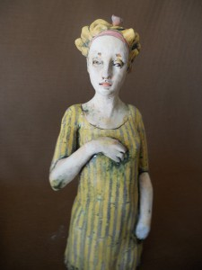 Kim Brown, Familiar Thoughts, terra cotta clay, 17 x 5 x 5.